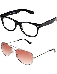 Sheomy Unisex Combo Pack Of Transparent Wayfarer Sunglasses And Silver Mercury Aviator Sunglasses For Men And...