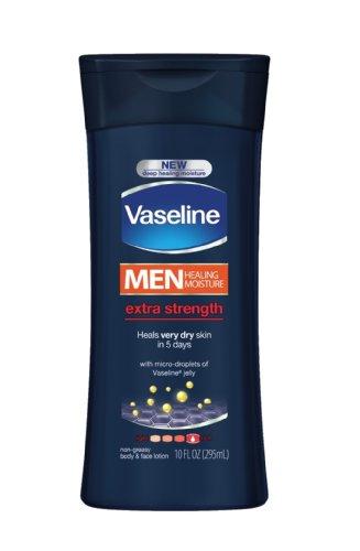 Vaseline Men Body & Face Lotion, Extra Strength, 10 Oz