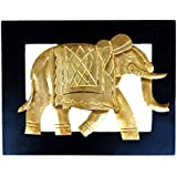 Wooden Elephant Wall Frame With Brass Work Antique Craft Rajasthani Pink City Jaipur Unique Traditional Handmade...