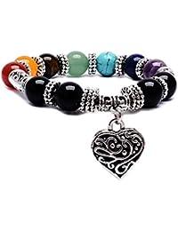 Young & Forever D'vine 7 Chakras Gemstone Crystal Reiki Healing Beads Heart Charm (10mm) Bracelet For Girls Women...