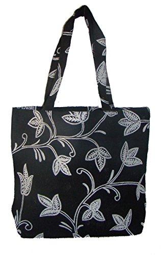 Foonty Black Print Jute Bag