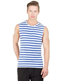 Hypernation Blue And White Color Casual Muscle T-Shirts For Men