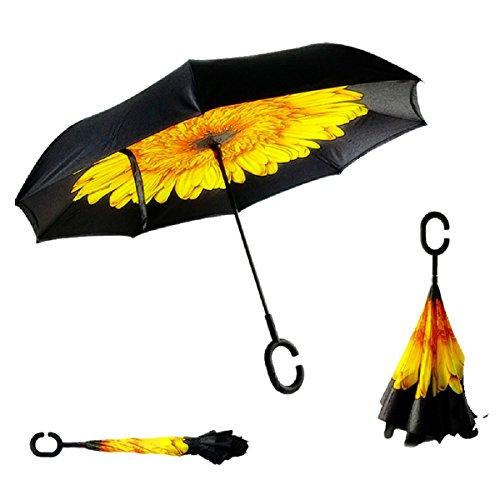 RAIN QUEEN Parapluie Canne Ouverture Inversé Double Toile Imprimé +C Poignée Grand Taille Dimension 110cm pour 2 personnes (Tournesol)