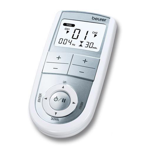 Beurer EM-41 - Electro estimulador digital, 2 canales, EMS/TENS/Masaje, color blanco y...