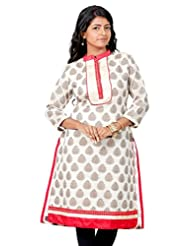 B3Fashion Designer Party Wear Chanderi Silk Kurti With Floral Weaves And Embroidered Lace Front Panel Work