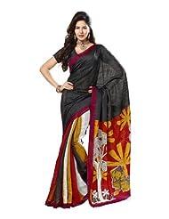 Indian Designer Wear Chappa Silk Black Printed Saree