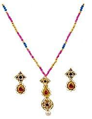 Kshitij Jewels Pink Blue Metal Pendant Necklace Set For Women (KJ 147)