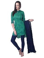Vastra Vinod Teal Green Cotton Suit Set