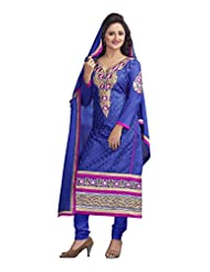 Blue Semi Cotton And Chiffon Semi-Stitched Party Wear Suit With Blue Dupatta