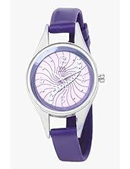 Watch Me Purple Leather Analogue Watch For Women WMAL-098-PR - B01KIEOU4O
