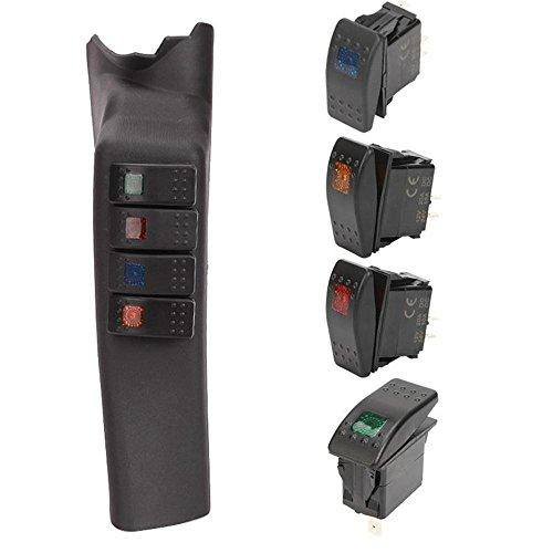 Auxmart A Pillar 4-Switch Pod Kit Left Mount for Jeep Wrangler JK 2011-2015