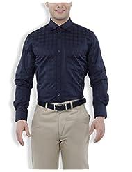 Nick&Jess Mens Black Checkered Slim Fit Dress Shirt
