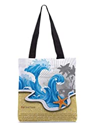 Snoogg Vector Summer Background With Waves Designer Poly Canvas Tote Bag