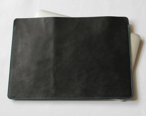 MacBook Air 11インチ オイルヌメ牛本革ケース 黒(糸:ブルー)