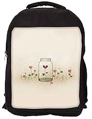 Snoogg Bottles And Flowers Backpack Rucksack School Travel Unisex Casual Canvas Bag Bookbag Satchel