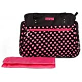 Baby Bella's Black W/ Pink Hearts And Polka Dots Diaper Tote For Mom W/ Baby Gear - Messenger Bag - Changing Pad...