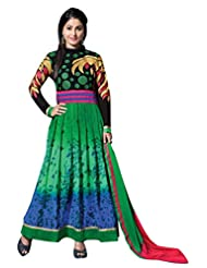 Green, Black & Blue Georgette Semistitched Salwar Kameez - Floral Embroidary With Patch Patti