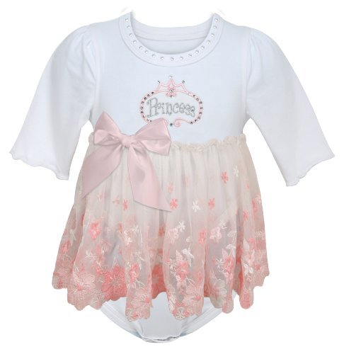 Stephan Baby Angels In Lace Pink Princess All-in-One Lace Trimmed Diaper Cover With Embroidered And Crystal Embellishments...