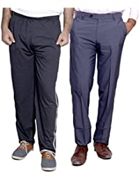 Indistar Mens Formal Trousers With Men's Premium Cotton Lower (Length Size -40) With 1 Zipper Pocket And 1 Open... - B01GEIOVWY