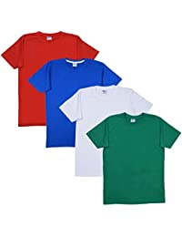 Fleximaa Men's Cotton Round Neck T-Shirts - White, Red, Royal Blue & Pakistan Green Colors (Pack Of 4). - B01JI8T6O0