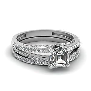 Fascinating Diamonds 1.10 Ct Asscher Cut Diamond Slender Split Engagement Wedding Rings Set VVS2 14K GIA
