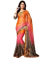 Inddus Women Orange & Pink Ombre-Dyed Printed Saree
