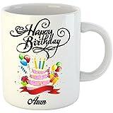 Huppme Happy Birthday Arun White Ceramic Mug (350 Ml)
