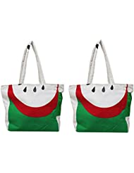 VS Exporrts Double Handle Tote Bag (Multicolor, Pack Of 2)