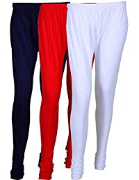 Cotton Leggings (Culture The Dignity Women's Cotton Leggings Combo Of 3_CTDCL_NvRW_NAVYBLUE-RED-WHITE_FREESIZE)