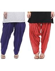 Rama Set Of 2 Cotton Blue & Pink Color Full Plain Patiala (14RAMA14215553)