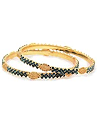 Peach & Glory Gold Plated Blue Stone Bangle For Women SIZE 2.6 (A131)