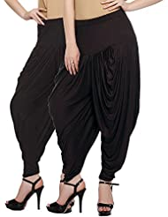 Fashion And Freedom Women's Pack Of 2 Black And Brown Viscose Dhoti