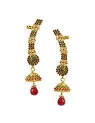 Hyderabadi Maroon-Green Polki Ear Cuff-Wrap Traditional Earrings By Via Mazzini