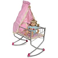 Royal Rocking Cradle With Canopy For Your Baby Doll Fits Up To 18 Inch Dolls | Includes Mattress (Fits American...