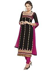 Women's Black & Pink Cotton Straight Fit Semi Stitched Salwar Suit