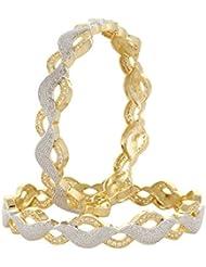Moda Stella American Diamond Gold Plated 2 Tone Lace Bangle