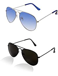 SHEOMY COMBO OF STYLISH SILVER BLUE AVIATOR GOGGLES AND BLACK AVIATOR SUNGLASSES WITH 2 BOX - Free Delivery