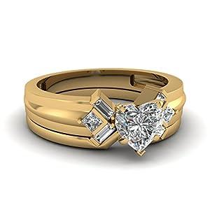 Fascinating Diamonds Serenity Elegance Engagement Wedding Rings Set 1.40 Ct Heart Shaped Diamond SI2 GIA