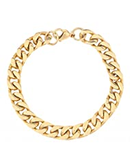 The Jewelbox 316L Stainless Steel 22K Gold Plated Classic Curb Men Boys Bracelet