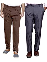 Indistar Mens Formal Trousers With Men's Premium Cotton Lower (Length Size -40) With 1 Zipper Pocket And 1 Open... - B01GEIOAKC