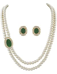 Classique Designer Jewellery White Two Layers Pearl Necklace With Green Beads & CZ Stones Side Brooch Earrings Of Necklace Set