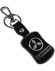 Techpro Premium Quality Leatherite Lock Keychain With Mitsubishi Design