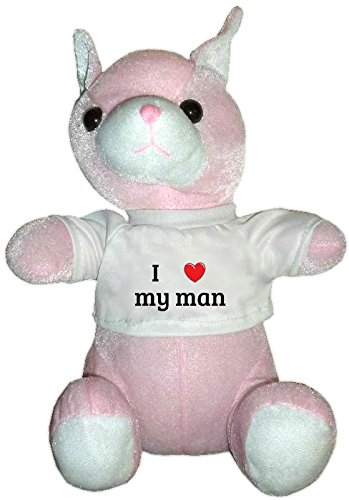 Pink Plush Cat Toy in I heart my man t-shirt