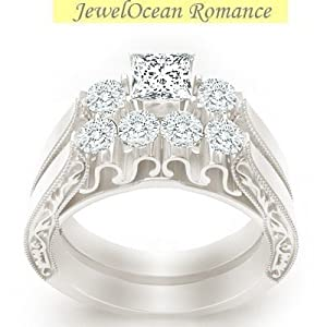 Huge Three Stone Discount, Limited time Offer! Queenly Matching wedding Ring set 1 Carat Princess Cut Diamond on 10k Gold