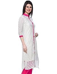 Dheylu Creation Women's Georgette Kurti (White Top_White_Large)