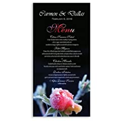 100 Wedding Menu Cards - Dawn Frosted Rose