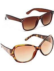 New Stylish UV Protected Combo Pack Of Sunglasses For Women / Girl ( BrownWayfarer-BrownButterfly ) ( CM-SUN-048 )