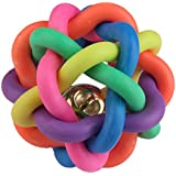 Vktech Pet Dog Puppy Cat Kitten Rainbow Multi Color Rubber Bell Playing Ball Toy (S)
