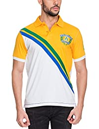 Zovi Men's Cotton Yellow And White Polo T-shirt (11886505501)