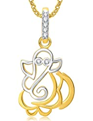 Amaal Ganesha Ganpati God Pendant With Chain For Men,Women Gold Plated In American Diamond Cz Jewellery GP0277